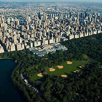 Aerial views of Central Park Zoo, Midtown Manhattan