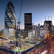 Development project in the city of London with Gherkin in Background. Stitched image shot on Canon 5d MKii with 24mm TSL lens,<br />