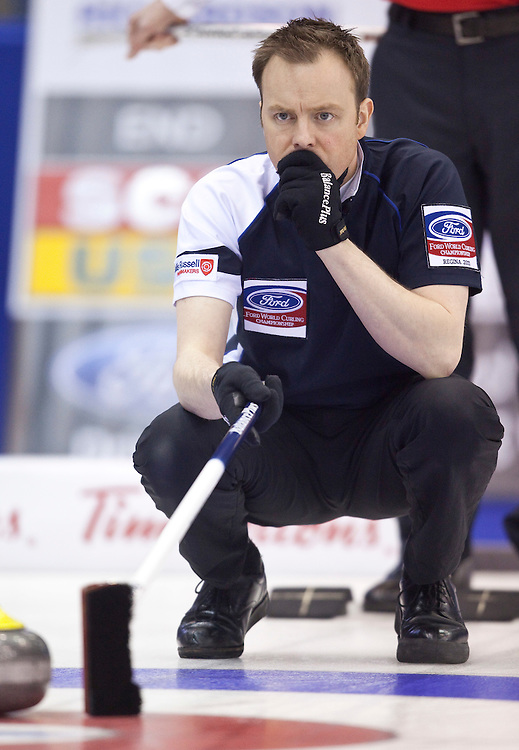 Scottish skip Tom Brewster calls a shot during his match against the United States at the World Curling Championships at the Brandt Centre in Regina, Saskatchewan, April 7, 2011.<br /> AFP PHOTO/Geoff Robins