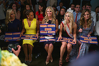 Sept. 11, 2013 - New York, NY - Guest judges gave contestants their results in the form of 1-5 footlong subs. Collections of outfits made out of  Subway sandwich accessories for the Project Subway fashion show at Chelsea Piers.<br /> (Photo by Robert Caplin)