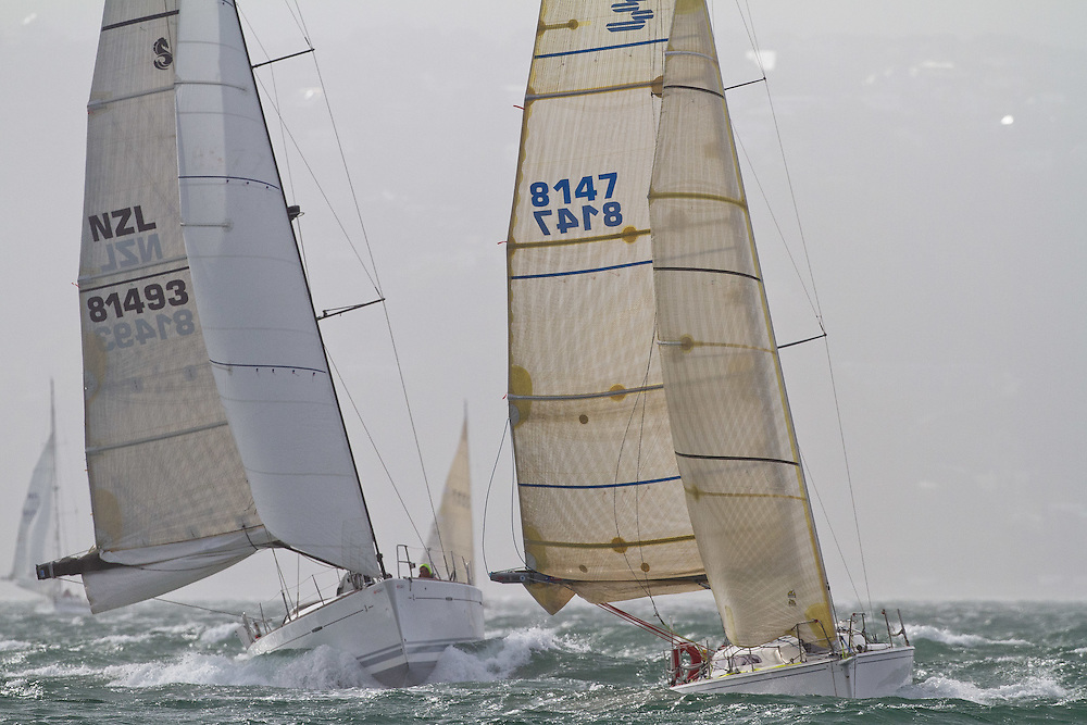 Second Nature leads Bird on the Wing at the Wellington restart of Round North Island two-handed yacht race. Wellington, New Zealand. 2 March 2011. Photo: Gareth Cooke/Subzero Images