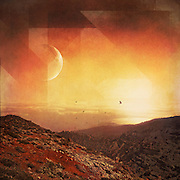 Surreal landscape at sunset - mixed media with textures & graphic elements