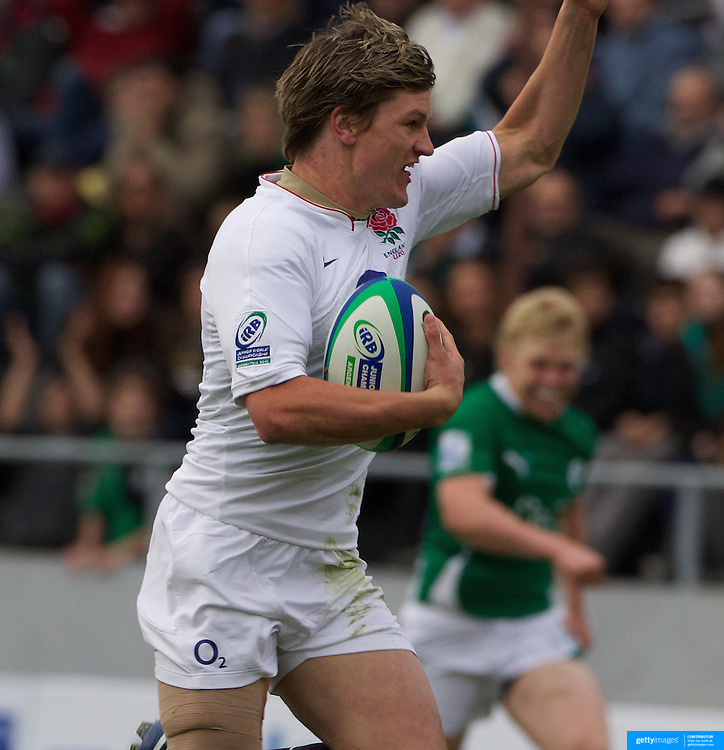 Freddie Burns seals victory for England as he goes over for his second try during the England V Ireland group stage match at Estadio El Coloso del Parque, Rosario, Argentina, during the IRB Junior World Championships. 9th June 2010. Photo Tim Clayton....
