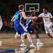 Sanford Warriors Guard MIKEY DIXON (3), RIGHT, attempts to dribbles past St. Georges Hawks Forward TRISTAN GUILD (24) in the first half of a Boys Basketball DIAA State Tournament Finals match between the Sanford Warriors and the St. Georges Hawks Saturday, Mar. 12, 2016, at The Bob Carpenter Sports Convocation Center in Newark, DEL.
