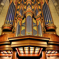 Benjamin Duke Organ at Duke University in Durham, North Carolina<br /> After passing through the narthex and entering the nave of the Duke University Chapel in Durham, North Carolina, look up at the oak gallery and marvel at the 1976 Flentrop Pipe organ. It is beautiful! Also called the Benjamin Duke Memorial Organ, the musical instrument is 40 feet tall, contains over 5,000 pipes, is made from African mahogany and is gilded with gold. A brief concert is played on most weekdays at 12:30.