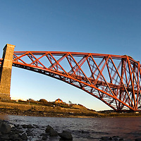 Forth Rail Bridge from North Queensferry..  Completed in 1890, the Forth Rail Bridge was the World's first major steel bridge.  It is a double cantilever bridge, 2528.7m long, spanning the Firth of Forth, East Scotland.