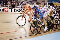 21 January 2007: Russia (RUS) and Netherlands Women's cyclist go head to head at the UCI Track Cycling World Cup Classics @ the Home Depot Center, Carson CA.  Outdoor portrait with bike. Team OUCH OPC pro cycling gear.