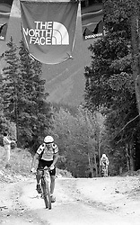 U.S. National and World Mountain Bike Champion Ned 'The Lung' Overend racing at Aspen, CO, 1988.