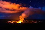 Lava steam vent glowing at night in the Halemaumau Crater, Hawaii Volcanoes National Park, Hawaii