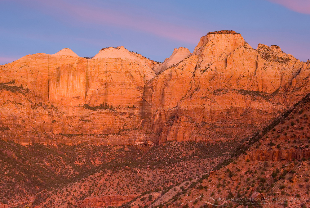 Dawn over the Towers Of The Virgin Zion National Park Utah USA