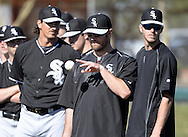 GLENDALE, AZ - FEBRUARY 25:  John Danks #50 of Chicago White Sox looks on during spring training workouts on February 25, 2015 at The Ballpark at Camelback Ranch in Glendale, Arizona. (Photo by Ron Vesely)   Subject:   John Danks