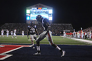 Ole Miss wide receiver Melvin Harris (5) celebrates a touchdown at Vaught-Hemingway Stadium in Oxford, Miss. on Saturday, September 25, 2010. Ole Miss won 55-38.