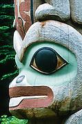 Alaska. Sitka Nat'l Historical Park. RA. K'alyaan Pole detail, Frog, carved 1999.