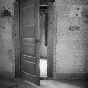 Old Brothel Interior Doorway - Ghost Town - Rhyolite NV - Black & White