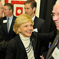 NC Governor Bev Perdue, at ribbon cutting and expansion announcment of Providencia USA. Directly behind her is Herminio Freitas, Chief Executive Officer,  Providencia . Near Statesville, NC  01/2011