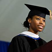 10/21/11 - Medford/Somerville, Mass. Falon Gray, V13, delivers remarks on behalf of graduate students during the inauguration ceremony of Tufts University's thirteenth president, Anthony P. Monaco on Friday, October 21, 2011.   (Alonso Nichols/Tufts University)