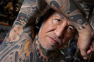 Horiyoshi III (the 3rd), expert Japanese tattooist, in his studio in Yokohama, Japan, on Saturday 10th September 2011.