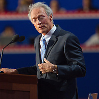 Clint Eastwood addresses an empty chair, pretending that it is President Barack Obama during the Republican National Convention in Tampa, Fla.