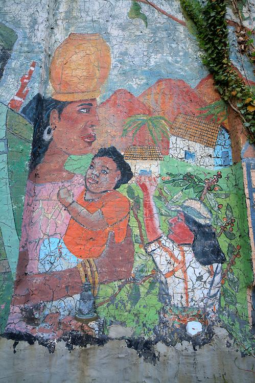 Wall art in  the Lower East Side gardens