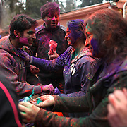 Participants rub powdered color on each other during a Holi festival at the Sanatan Dharma Hindu Temple and Cultural Center in Maple Valley on Saturday, March 10, 2012. Holi, the Festival of Colors, is a Hindu festival welcoming spring. It is most well-known for the vibrant bursts of gulal, the powdered dye, that festivalgoers throw on each other. (Joshua Trujillo, seattlepi.com)