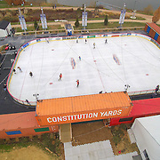 Aerial view of skaters glide across the ice rink Friday. Nov. 25, 2016, at the Horizon Services Riverfront Rink at ConstitutionYard Beer Garden in Wilmington.