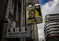 A campaign poster in Cape Town's CBD (Central Business District).  South Africa.