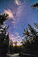 The autumn sky area of the Milky Way as shot at the Athabasca Falls area in Jasper National Park. The Moon was just setting behind the camera, brightening the sky. This is a single exposure with the 14mm Rokinon lens at f/2.8 and Canon 5D MkII at IS 3200 for 1 minute.