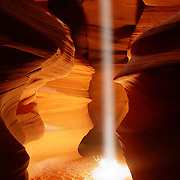 A vibrant shaft of light illuminates a tumbleweed on the floor of Antelope Canyon in Page, Arizona. Antelope Canyon is a slot canyon that was carved by violent flash floods. Beams of light form only when the sun is nearly overhead, lighting up the blowing sand that fills the canyon, which is dozens of feet deep.