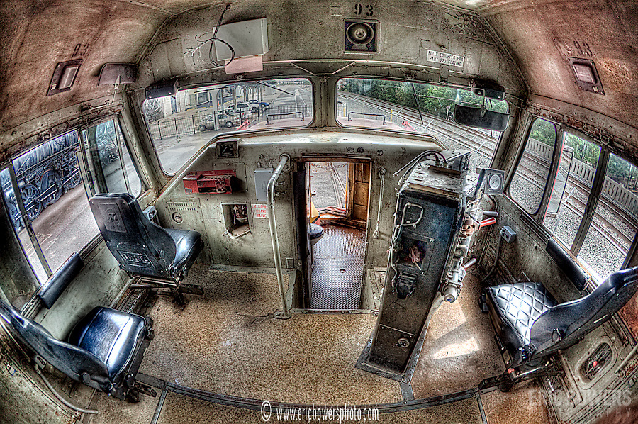 Inside Santa Fe #93 with the fisheye lens and some post-process tone mapping, at the Great Plains Train Museum in Wichita, KS
