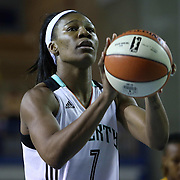 New York Liberty Center Avery Warley-Talbert (7) attempts a free-throw drives in the fourth period of a WNBA preseason basketball game between the Chicago Sky and the New York Liberty Friday, May. 22, 2015 at The Bob Carpenter Sports Convocation Center in Newark, DEL