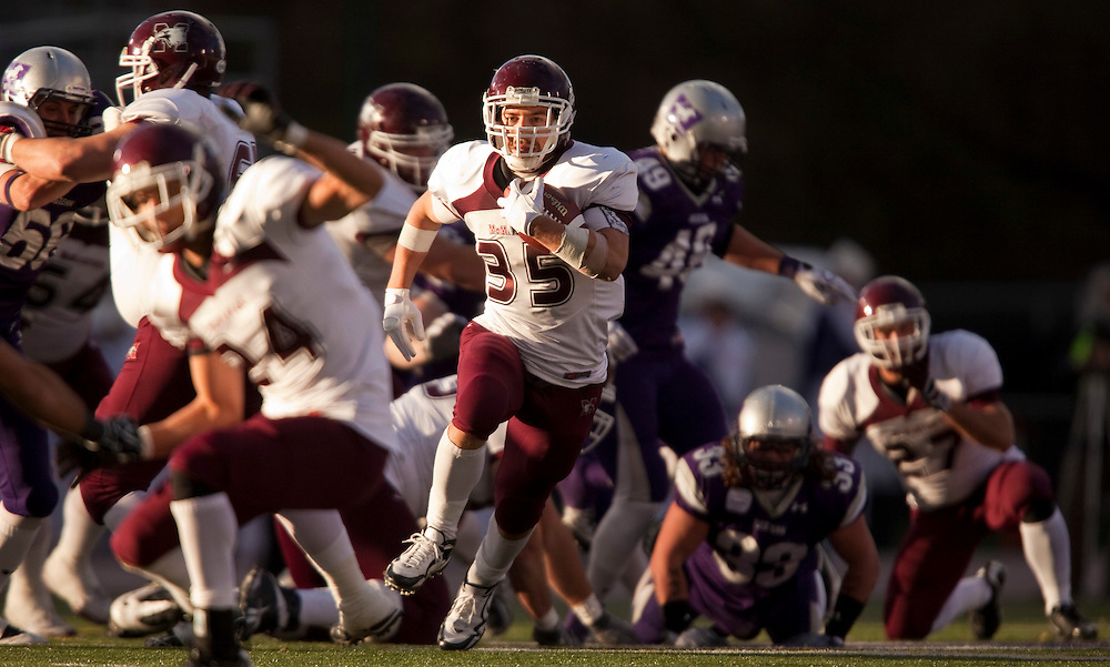 McMaster Marauders running-back Joseph Nemet finds a hole in the University of Western Ontario's defense during the first quarter of their OUA semi-final at TD Waterhouse Stadium in London, Ontario, November 6, 2010. Western defeated McMaster 34-28.<br /> <br /> The Canadian Press/GEOFF ROBINS