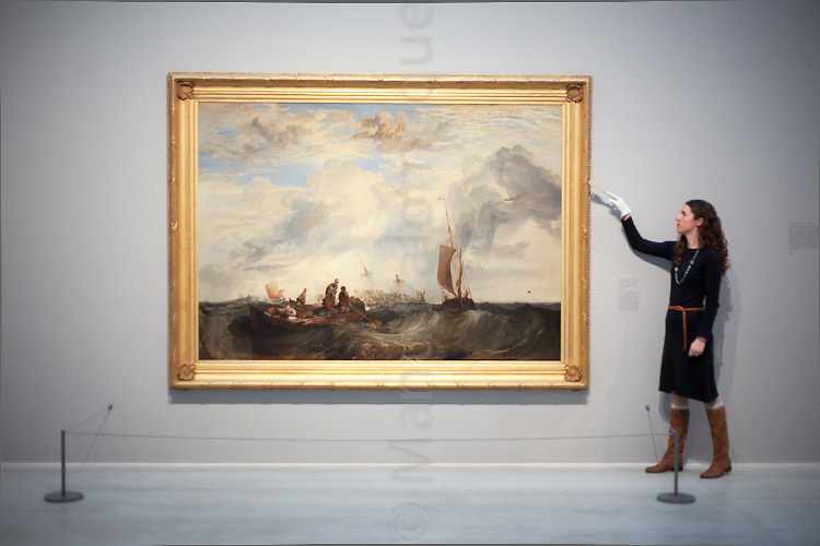 """© London News Pictures. 27/01/2012. Margate, Kent. """"Turner and the Elements"""" showing at the Turner Contemporary in Margate, Kent. It brings tgether 88 works by Britains best-loved painter JMW Turner. A number of works feature Margate and the north Kent coast based on the artists theme of the elements - Earth, Water, Air, Fire and Fusion. Photo credit should read Manu Paomeque/LNP."""