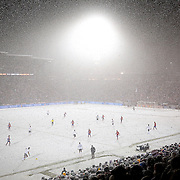 SHOT 3/22/13 8:48:38 PM - Heavy snow falls as the United States  and Costa Rica face off during their World Cup qualifying game at Dick's Sporting Goods Park in Commerce City, Co. on Friday March 22, 2013. The U.S. won the game 1-0 in a spring blizzard that blanketed the pitch and players in snow. Officials almost called the game because of the extreme weather conditions but decided to play on instead. (Photo by Marc Piscotty / © 2013).