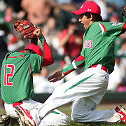 8/22/10 Aberdeen, MD: Mexico Pitcher Gerardo Haro and Vincente Avila celebrate on the mound after Mexico defeats Ocala Florida 7-1 at The Cal Ripken World Series in Aberdeen MD.