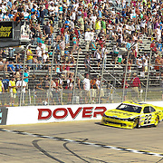Joey Logano (22) of team Hertz races down the straight away as Logano wins the NASCAR Nationwide Series 5-HOUR ENERGY 200 auto race at Dover International Speedway in Dover, DE., Saturday,  June 01, 2013.