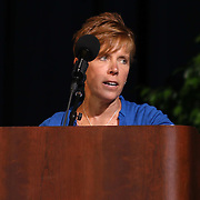 Christiana High School principal Mrs. Noreen LaSora  addresses students during Christiana 52nd commencement exercises Monday, June 01, 2015, at The Bob Carpenter Sports Convocation Center in Newark, Delaware.