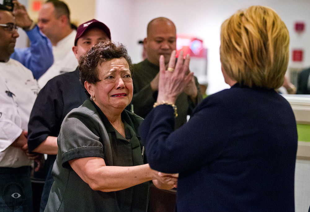 One of many supporters begins to weep as Secretary of State Hillary Clinton visits hotel and casino workers in the employee dining room at the MGM on Wednesday, February 18, 2016. L.E. Baskow