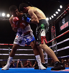 POMONA,CA - APR 28: Junior flyweight Roman Chocolatito Gonzalez successfully defended his WBA world title belt with a fourth round technical knockout over Ramon Garcia at the Fairplex in Pomona, CA. All fees must be ageed prior to publication,.Byline and/or web usage link must  read Eduardo E. Silva/SILVEX.PHOTOSHELTER.COM.