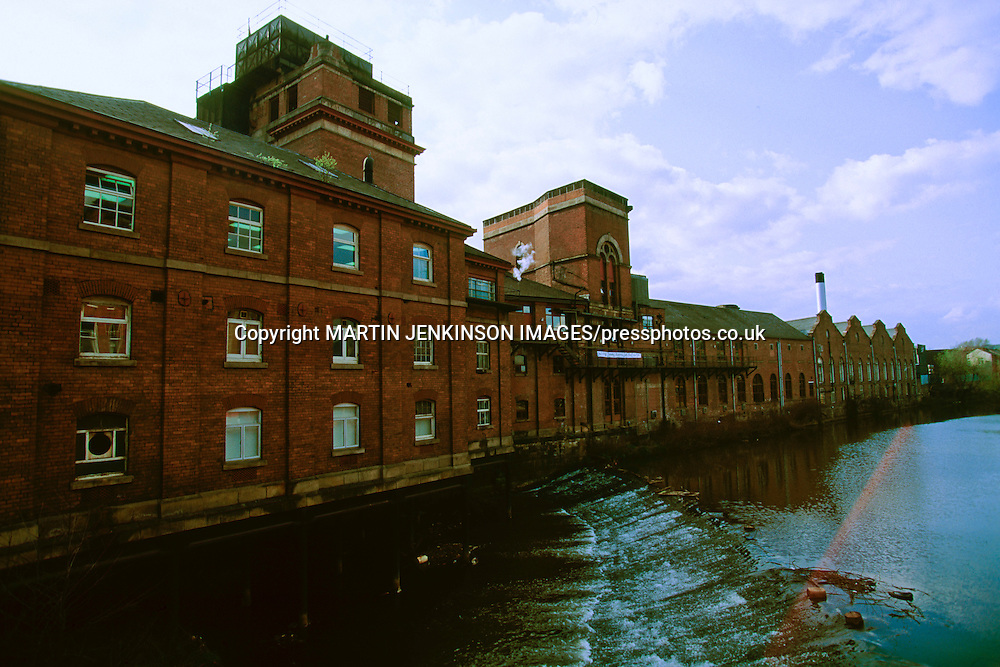 River Don at Ladysbridge in front of the Whitbread Exchange Brewery, Sheffield. Circa 1988.