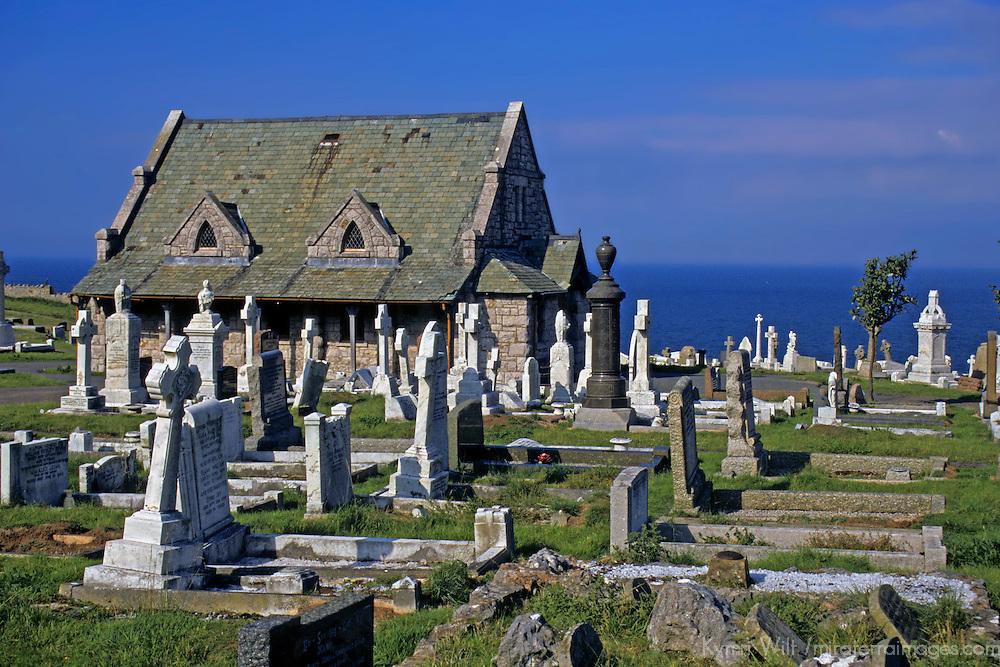 Europe, United Kingdom, Wales, Llandudno.  The church and churchyard of St. Tudno on the Great Orme overlooking the Irish Sea.