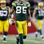 Green Bay Packers' Greg Jennings celebrates his 31-yard pass play from Aaron Rodgers on 3rd and 10-yards late in the 4th quarter. .The Green Bay Packers played the Pittsburgh Steelers in Super Bowl XLV,  Sunday February 6, 2011 in Cowboys Stadium. Steve Apps-State Journal.