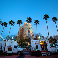 TAMPA, FL -- Sat trucks set-up before the Election Night watch party for Mitt Romney on decision day for the Florida Primary on Tuesday, January 28, 2012. (Chip Litherland for The New York Times)