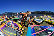 Image of windsurfers on the Columbia River at Hood River, Oregon, Pacific Northwest