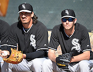 GLENDALE, AZ - FEBRUARY 24:  Jeff Samardjiza #29 (L) and Chris Sale #49 (R) of the Chicago White Sox look on during spring training workouts on February 24, 2015 at The Ballpark at Camelback Ranch in Glendale, Arizona. (Photo by Ron Vesely)   Subject:   Jeff Samardzija; Chris Sale