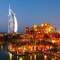 Mina A'Salam and Burj Al Arab Hotel, Madinat Jumeirah, Jumeirah Beach, Dubai, United Arab Emirates, UAE, Arabian Peninsula