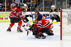Dec 23, 2008; Newark, NJ, USA; New Jersey Devils goalie Scott Clemmensen (35) makes a save during the first period at the Prudential Center.