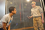 27/01/2012. Brolly Productions presents the world premiere of Guantanamo Boy at Stratford Circus. Guantanamo Boy is the stage adaptation of Anna Perera's critically-acclaimed teen novel about a British boy who is kidnapped in the aftermath of 9/11 while on holiday in Pakistan and held in Guantanamo Bay. Featuring Hamza Jeetooa as Kalid, Photo credit : Tony Nandi
