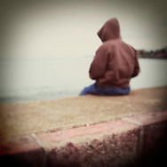 Young Person Wearing a Hoodie, Devon, Britain - August 2008