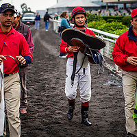 Felipe Martinez walks to the scales on December 21, 2013 at Betfair Hollywood Park in Inglewood, California . The Track is set to close on December 22, 2013 after operating for 75 Years.(Alex Evers/ Eclipse Sportswire)
