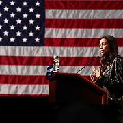 Actress Rosario Dawson introduces Senator Bernie Sanders to a large crowd of supporters in Wilmington Saturday. April. 23, 2016, at The Case Center on The River Front in Wilmington Delaware.